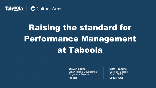 Raising the standard for Performance Management at Taboola
