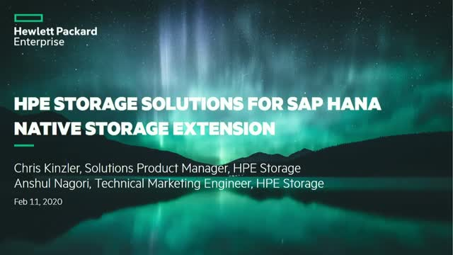 SAP HANA Native Storage Extension with HPE Storage