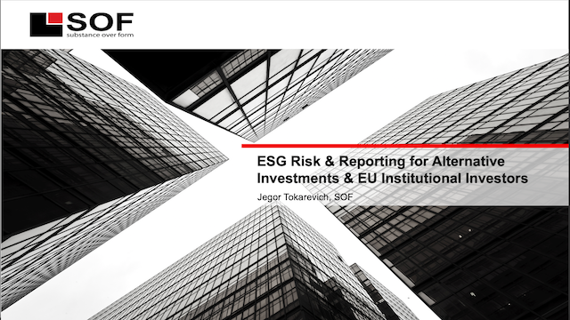 ESG Risk & Reporting for Alternative Investments & EU Institutional Investors