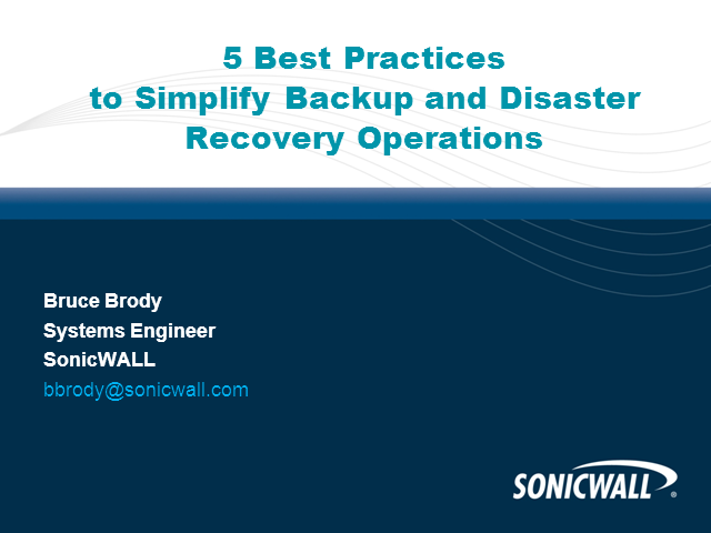 5 Best Practices to Simplify Backup and Disaster Recovery Operations