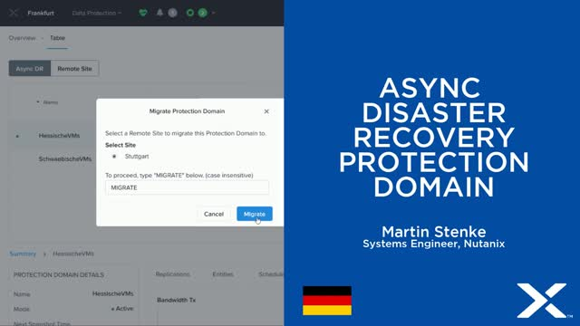 Nutanix Async Disaster Recovery mit Protection Domain's