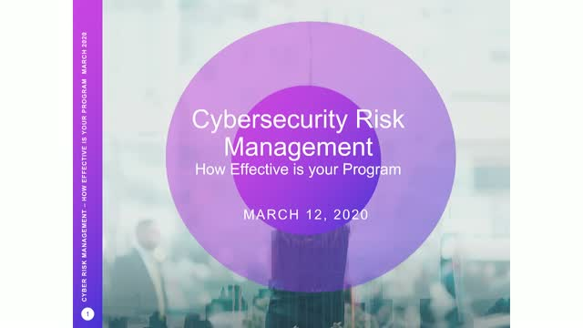 Cyber Risk Management - How Effective is Your Program?