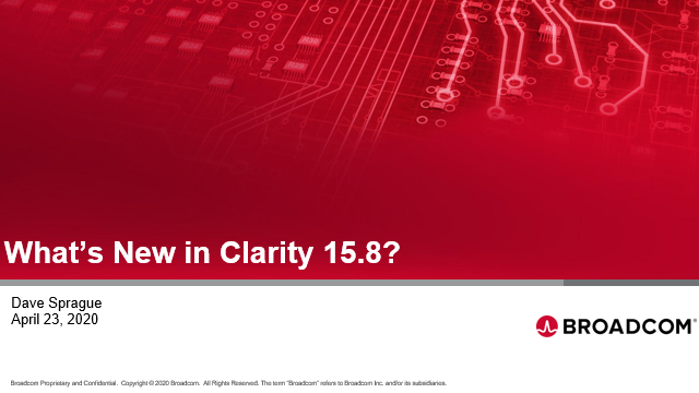 What's new in Clarity 15.8?