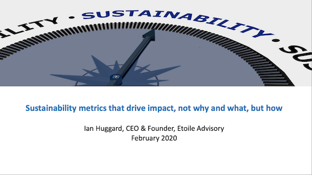 Sustainability metrics that drive impact – not the why and what – but the how
