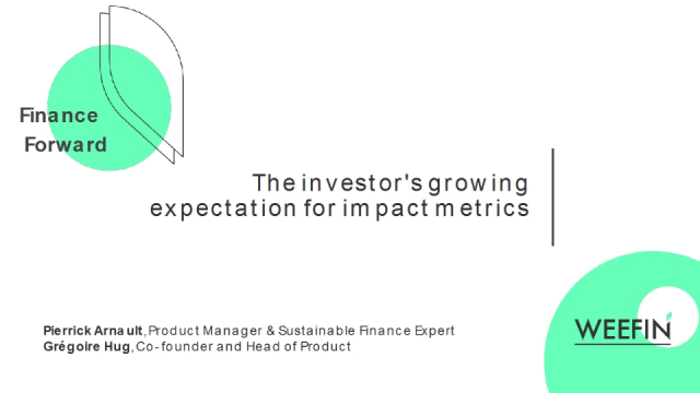 The investor growing expectation for impact metrics