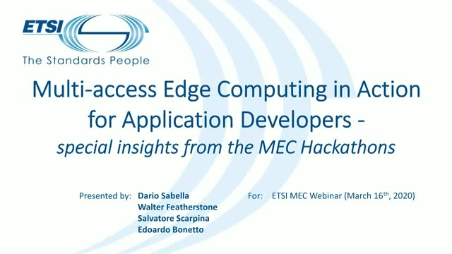 Multi-access Edge Computing in Action for Application Developers