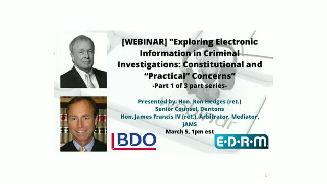 """""""Exploring Electronic Information in Criminal Investigations"""" Part 1/3"""