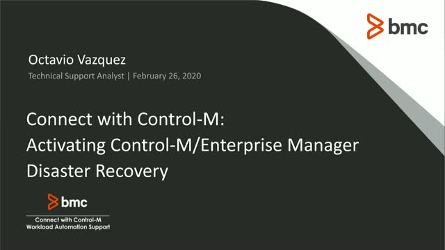 Activating Control-M/Enterprise Manager Server Disaster Recovery