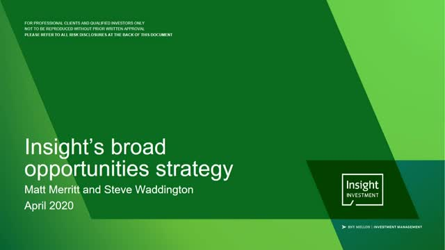 Insight's Broad Opportunities Strategy   April 2020