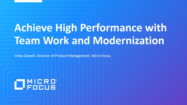 Achieve High Performance with Team Work and Modernization