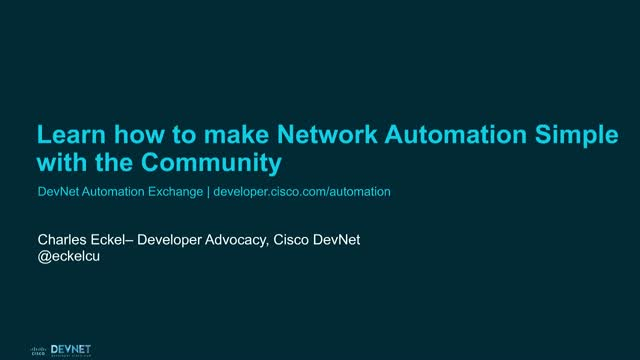 Learn how to make Network Automation Simple with the Community