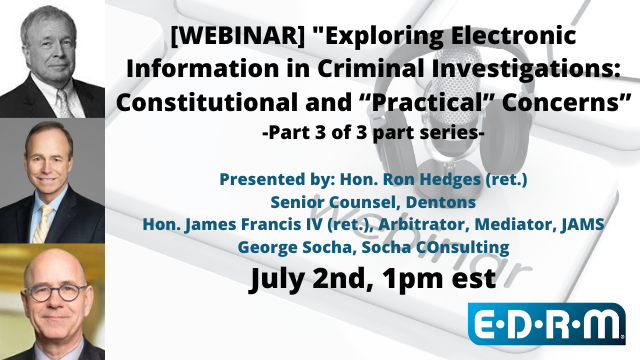 """""""Exploring Electronic Information in Criminal Investigations Part 3/3"""