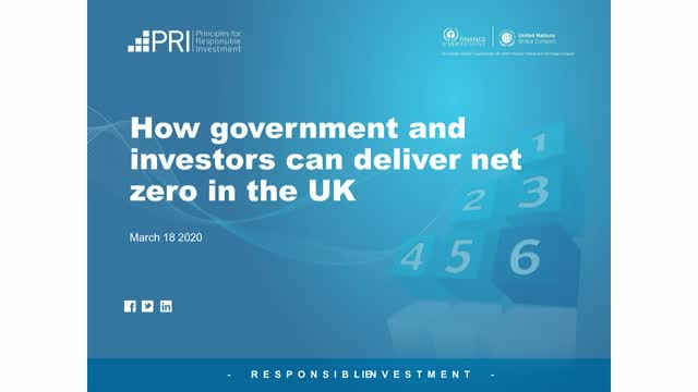 How investors and government can deliver net zero in the UK
