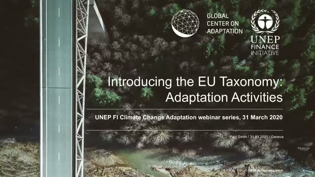 The EU taxonomy for Sustainable Activities: Climate Adaptation