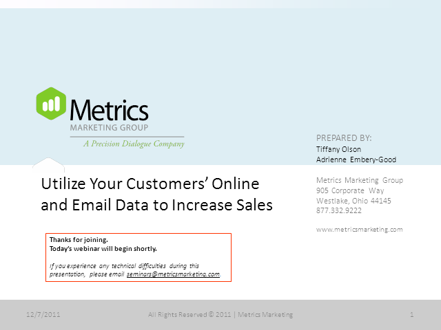 Utilize Your Customers' Online and Email Data to Increase Sales