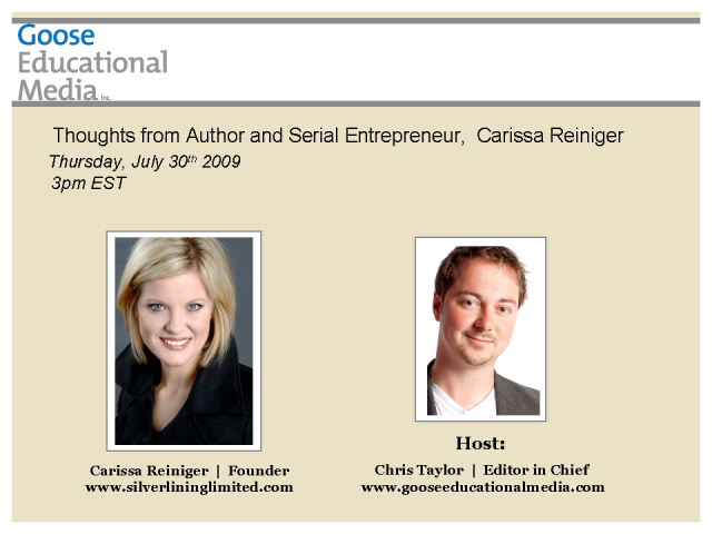 Carissa Reiniger - Author and Serial Entrepreneur