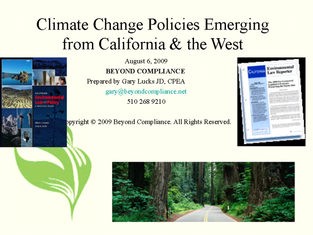 Climate Change Policies Emerging from California and the West