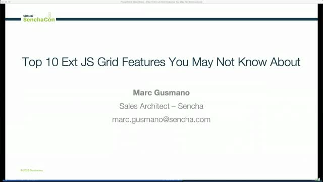Virtual SenchaCon - Top 10 Ext JS Grid Features You May Not Know About