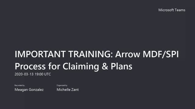 New Arrow HPE Partner MDF/SPI Process for Claiming & Plans