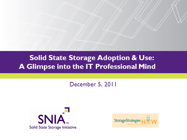 Solid State Storage Adoption & Use:  A Glimpse into the IT Professional Mind