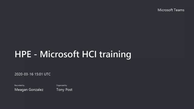 HPE - Microsoft HCI training- March 2020