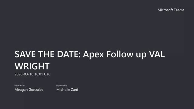 APEX UPDATE with VAL WRIGHT - March 2020