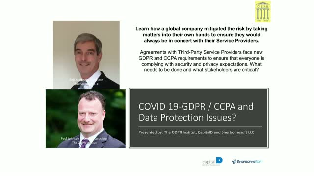 COVID 19-GDPR / CCPA and Data Protection Issues