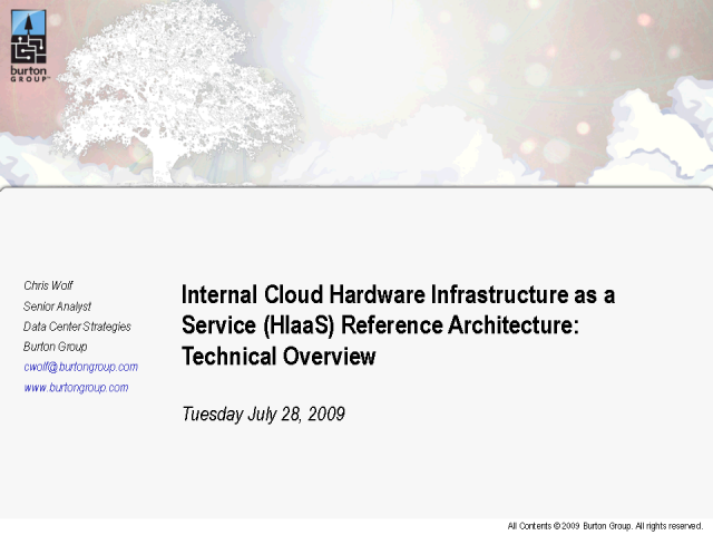 Internal Cloud Hardware Infrastructure as a Service