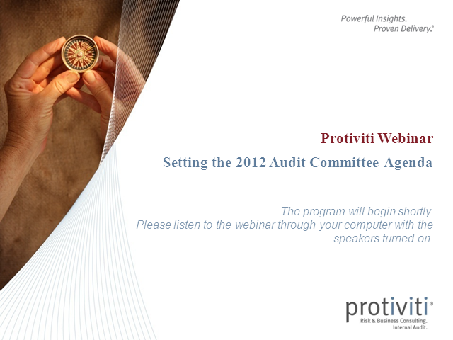 Setting the 2012 Audit Committee Agenda