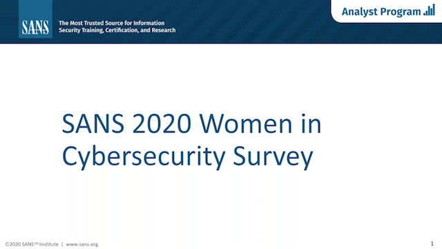 Practical advice from SANS 2020 Women in Cybersecurity Survey