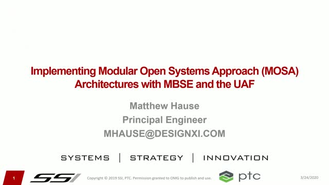 Implementing Modular Open Systems Approach (MOSA) Architecture with MBSE and UAF