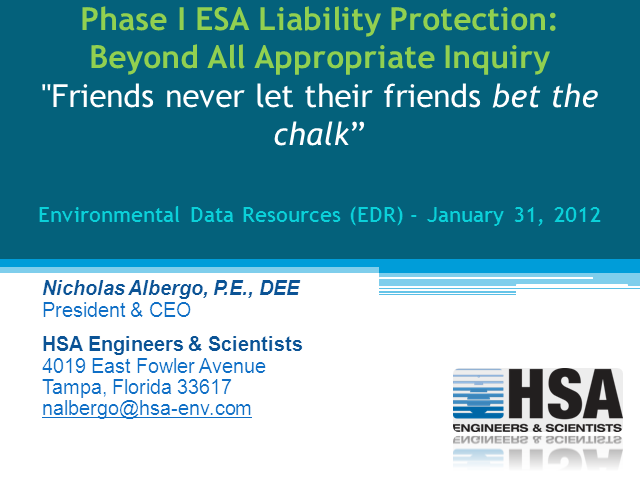 Phase I ESA Liability Protection: Beyond All Appropriate Inquiry
