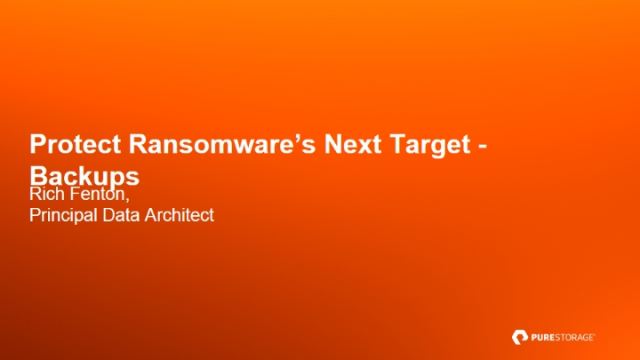 Protect Ransomware's Next Target – Backups
