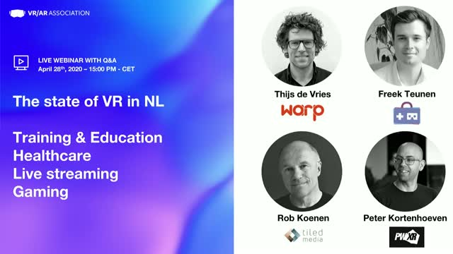 The state of VR/AR for Gaming, Healthcare, Training & Education, Live streaming