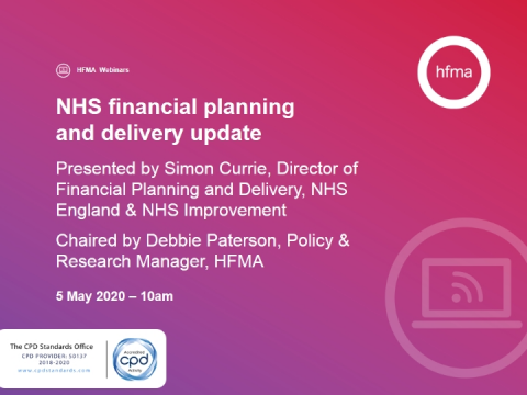 NHS financial planning and delivery update