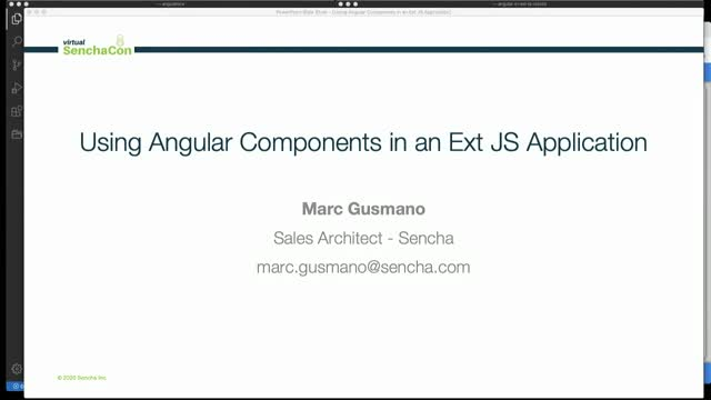 Virtual SenchaCon - Using Angular Components in an Ext JS Application