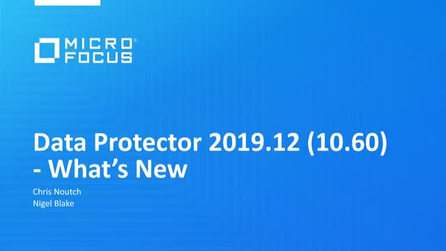 What's new in Data Protector: Introducing Data Protector 2019.12