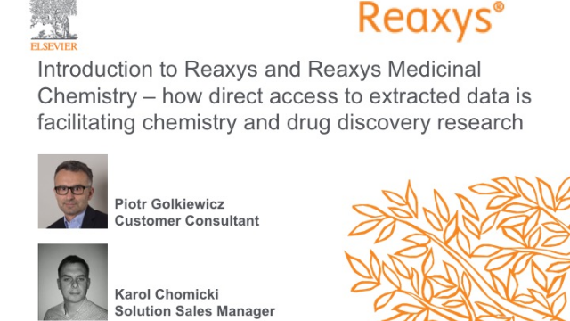 Introduction to Reaxys and Reaxys Medicinal Chemistry