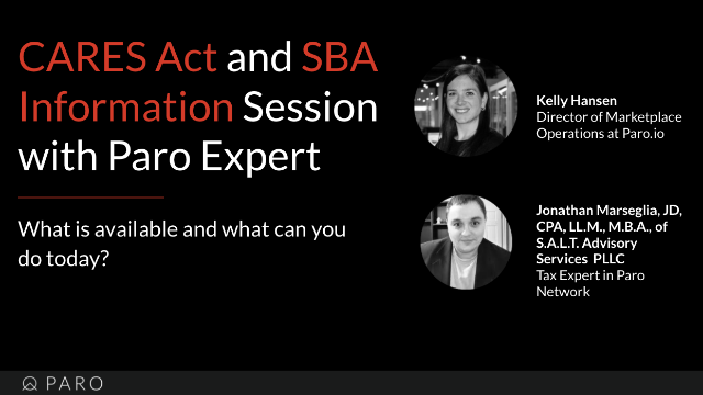 CARES Act and SBA Information Session with Paro Expert