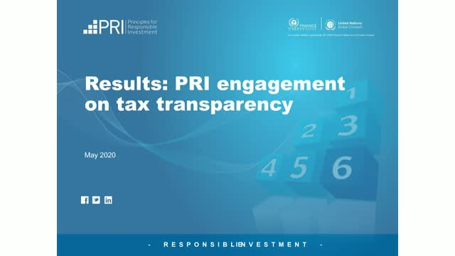 Results: PRI collaborative engagement on tax transparency