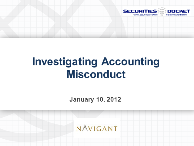 Investigating Accounting Misconduct