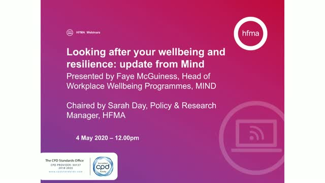 Looking after your wellbeing and resilience: update from Mind