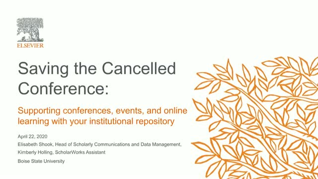 Saving the cancelled conference: Supporting conferences and events with your IR
