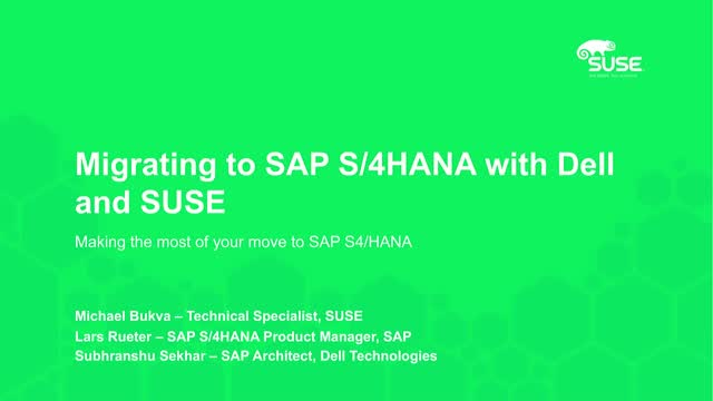 Migrating to SAP S/4HANA with Dell and SUSE