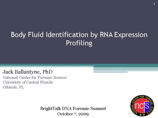 Body Fluid Identification by RNA Expression Profiling