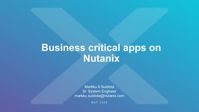 Business critical apps on Nutanix