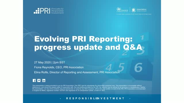Evolving PRI Reporting: progress update and Q&A