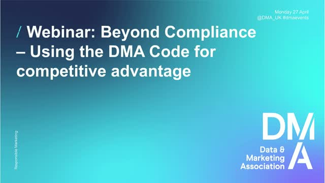 Webinar: Beyond Compliance – Using the DMA Code for Competitive Advantage