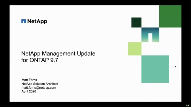 NetApp Management Update - ONTAP 9.7
