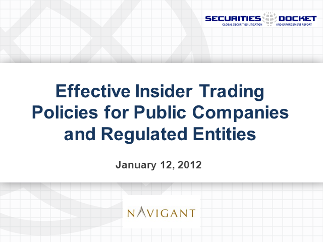 Effective Insider Trading Policies for Public Companies and Regulated Entities